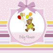 baby girl shower card with cute teddy bear