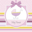baby girl shower card with cute pram