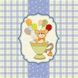 baby shower card with cute teddy bear