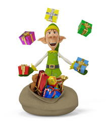 elf the santa helper cartoon with a bag full of gifts