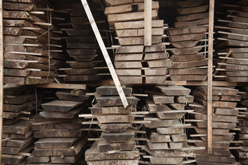 timber logs planked & air drying for oak furniture, Lancashire