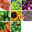 Fruits vegetable collage with room for your text.