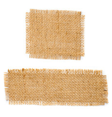 Burlap hessian square and rectangle with frayed edges isolated o