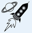 rocket ship and planet saturn symbols