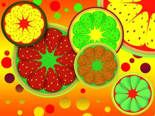 Background of fruit lobes