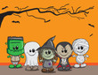 Cute halloween card - Frankenstain, Ghost, Witch, Dracula, Mummy