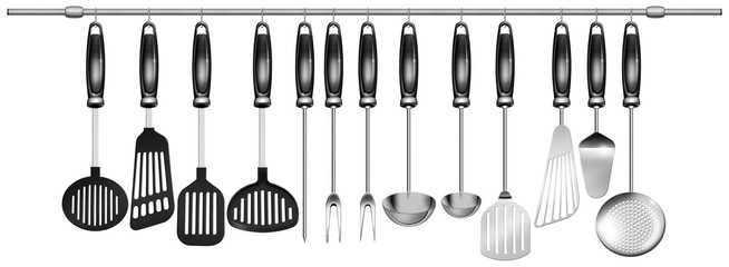 Horizontal set kitchen utensils