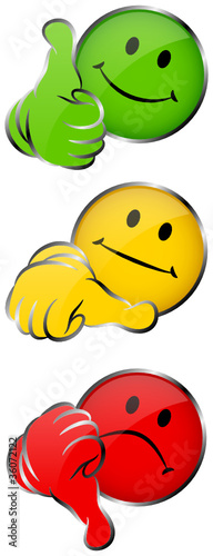 Smileys 1 Thumb Up, Middle & Down 3D