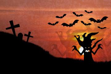 Halloween night with sunset