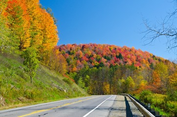Scenic Fall drive on Route 6 in Pennsylvania