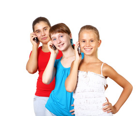 Pretty teenage girls with mobile phone