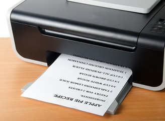 Printing recipe of apple pie