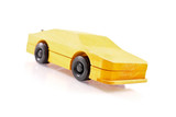 Yellow Painted Wooden Race Car