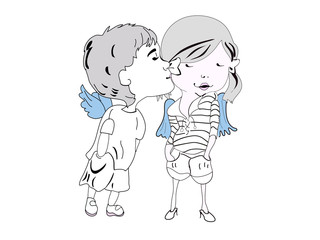 Sketch of cartoon kids kissing