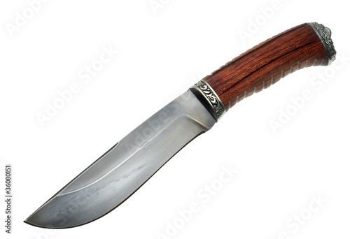 The hunting knife on a white background
