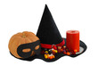 Halloween candies with candle and  pumpkin on edge witch hat iso