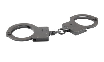 Black metallic handcuffs isolated on white background