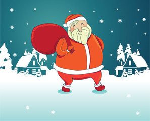 smiling santa claus with winter landscape