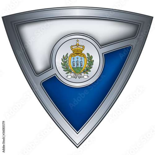 Steel shield with flag San Marino