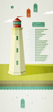 infographics elements with a lighthouse on the landscape poster