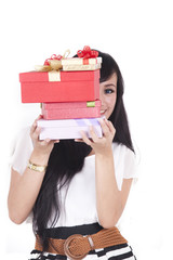 Asian Woman with Christmas Gift