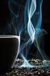 Cup with tea and smoke