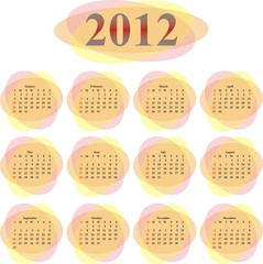 vector calendar 2012 in transparent ovals