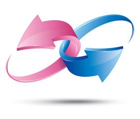 Pink & Blue Arrows 3D Union Symbol