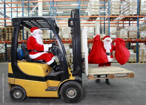 Santa clauses preparing for Christmas