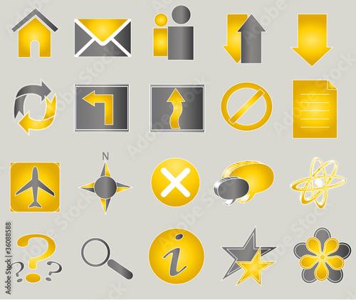 Pack de 20 iconos (gris/naranja)
