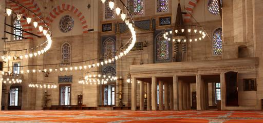 Inside the Suleymaniye Mosque, Istanbul (Turkey)