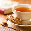 Cup of hot tea and chocolate chip cookies