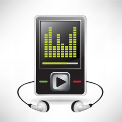 music player and headphones