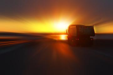 car at sunset highway