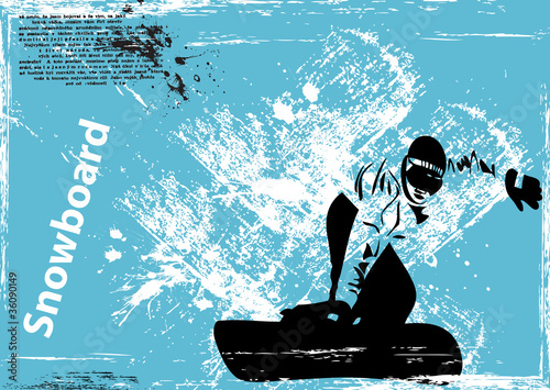 vector grunge snowboard background