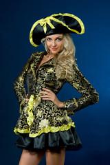 Beautiful woman in carnival costume. Empress shape.