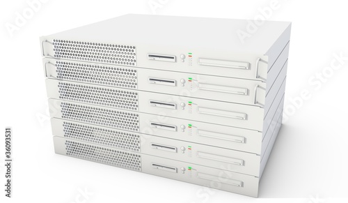 Rack Servers on white background