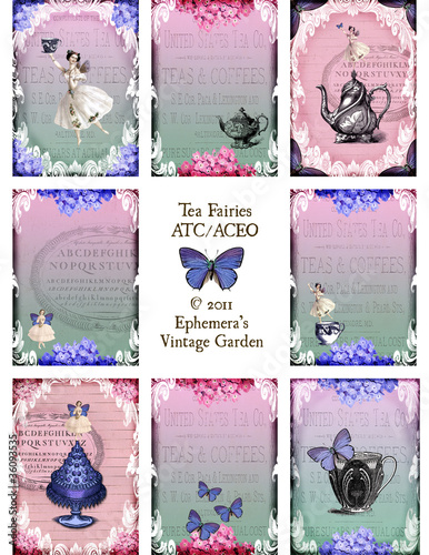 Tea Fairies Digital Collage Sheet ATC
