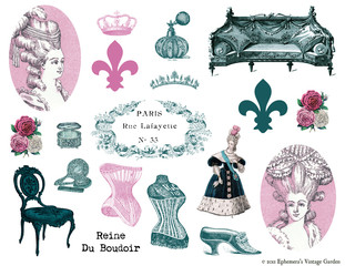 French Boudoir Collage Elements