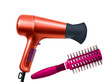 color hair dryer and massages comb isolated on white background