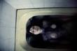 Scary nude girl in bath