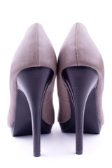 Pair women's shoes back view, isolated