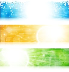 Vector header / banner light burst banner set