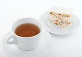 Cup of tea and Spanish turron for dessert