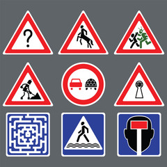 Nine funny road signs on gray background