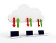 Laptops sharing data through a cloud server