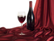 Bottle red wine on red satin