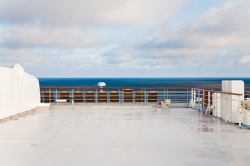 stern of cruise liner in sea at summer morning