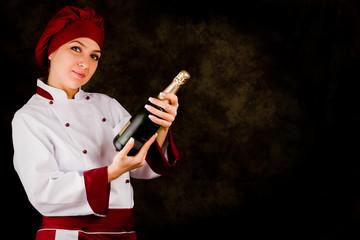 Chef - Somelier con bottiglia di Champagne
