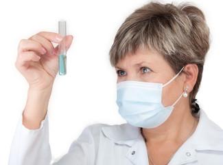 Laborant holding test-tube